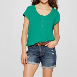 Universal Thread Linen Blend Henley T-shirt